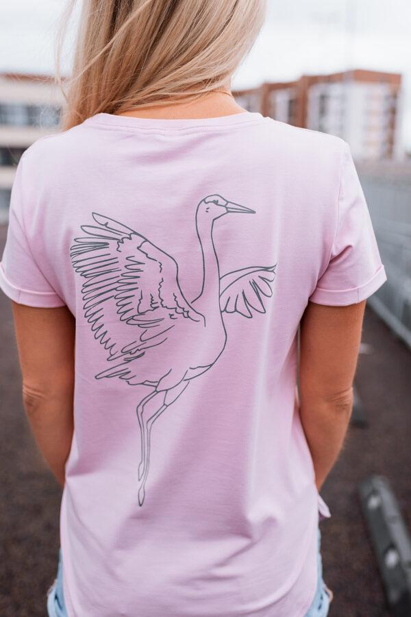 T-krekls sievietēm DZĒRVE, maigi sārts