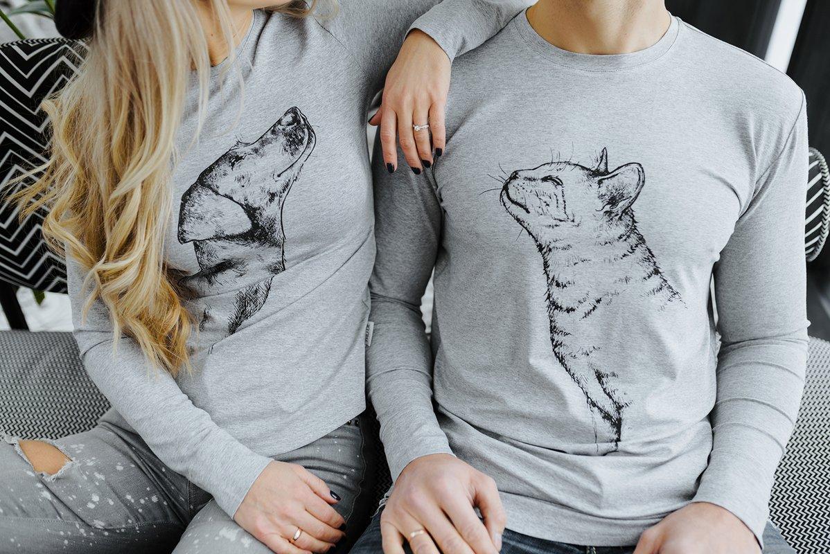 Vīriešu krekls ar kaķa apdruku