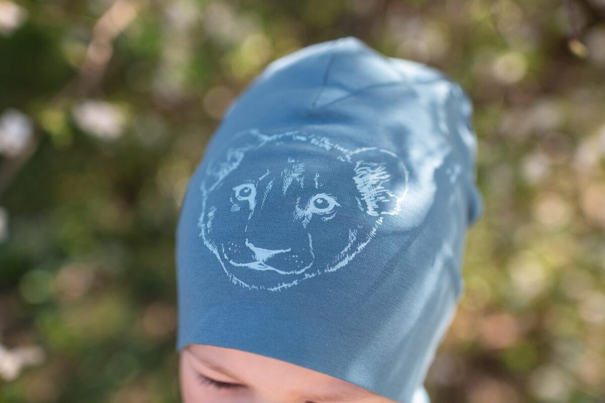Cepure bērniem ar lauvēna apdruku, zila
