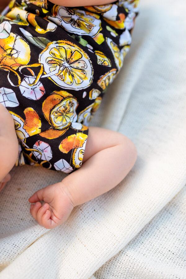CITRONU kimono bodijs mazuļiem, MELNS
