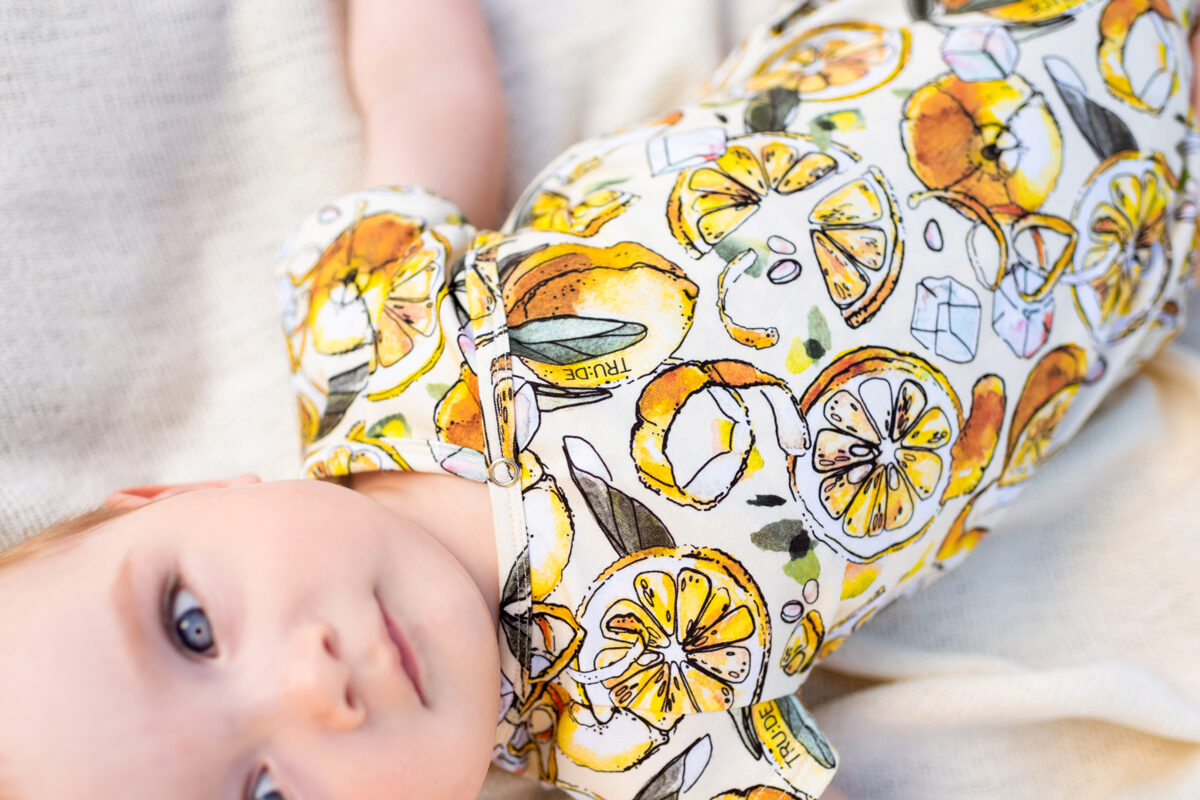 CITRONU kimono bodijs mazuļiem, DZELTENS