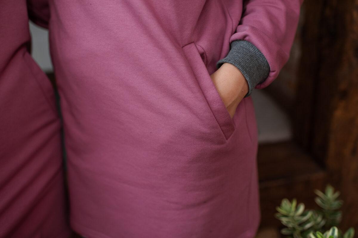 Sieviešu kapučdžemperis-kleita, LILLĀ