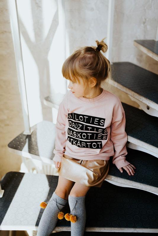 Veci rozā džemperis ar apdruku