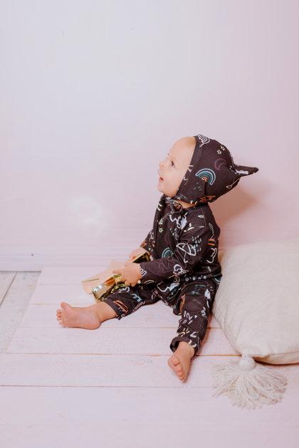 RUDENS sienamā cepure mazulim 2 kārtās, PELĒKBRŪNA