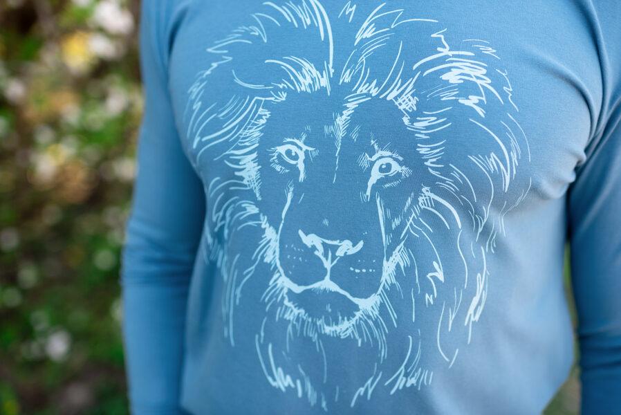 Tops vīriešiem ar lauvas apdruku, zils