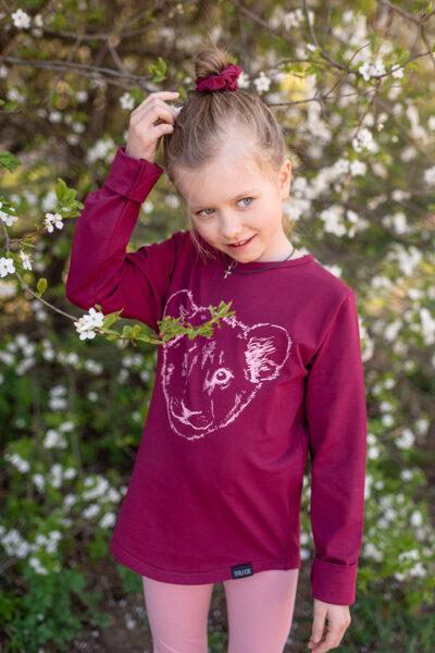 Bērnu krekls ar garām piedurknēm un lauvēna apdruku, fuksijas tonī
