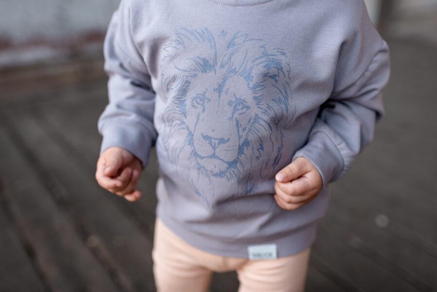 Bērnu unisex džemperis ar lauvas apdruku, zilpelēks