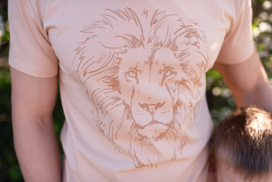 Vīriešu Tkrekls ar lauvas apdruku, bēšs