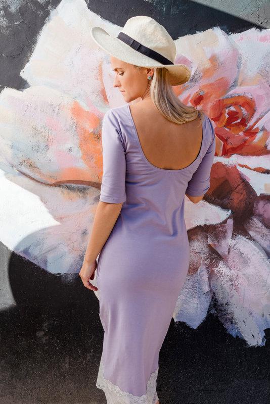 XL, Midi kleita ar mežģini ceriņu krāsā