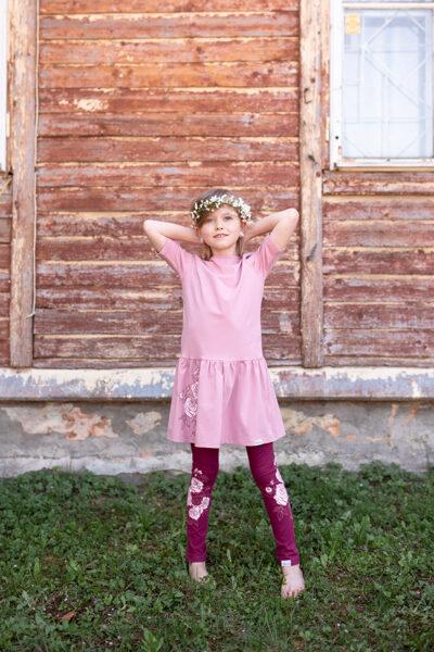 Bērnu kleitiņa ar ZIEDU apdruku, vecrozā