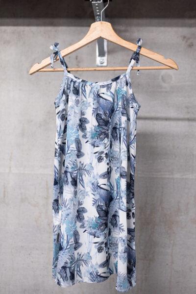 Vasaras kleita meitenēm ar sienamām lencītēm, zilpelēka